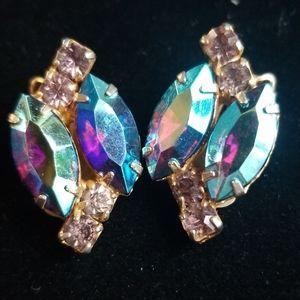 Vintage Estate AB Crystal Rhinestone Clip Earrings